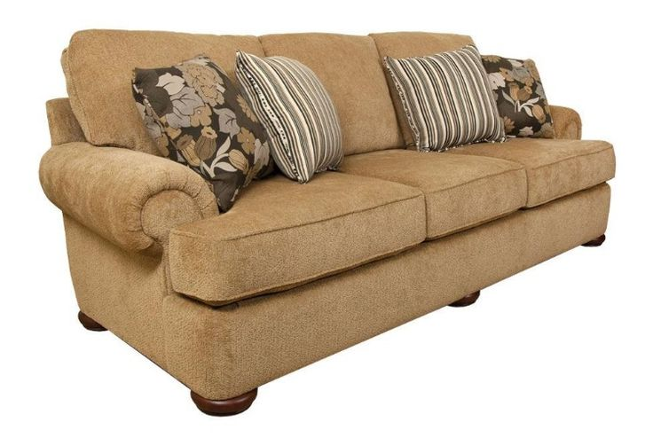 This generously scaled traditional 3-cushion sofa features a large rolled arm, bun leg, simple, front rail, and semi-attached back. The best part? Choose from hundreds of fabrics to make it your own and have it delivered in 30 days or less!