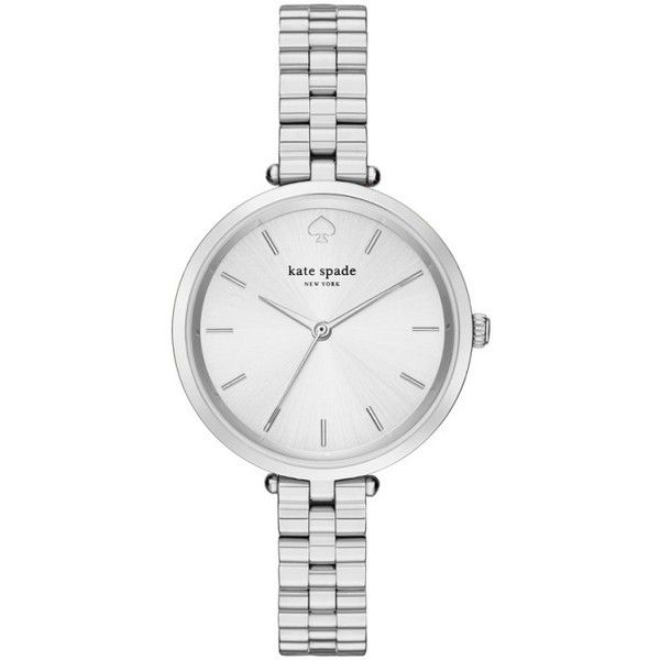 Kate Spade Classic Holland Watch Silver in silver, Watches ($220) ❤ liked on Polyvore featuring jewelry, watches, accessories, silver, silver jewellery, analog watches, silver watches, water proof watches and kate spade