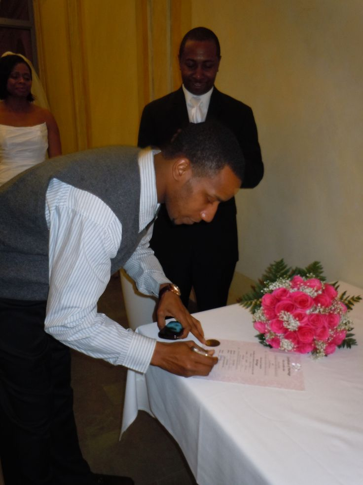 Best Man witnessing the #marriage certificate that I made for the couple.