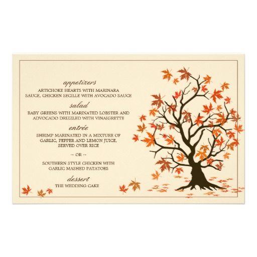 Fall Wedding Menu Cards With Autumn Tree Illustration Custom Stationery  #WeddingMenu #Wedding #Fall #Autumn #Menu #Zazzle
