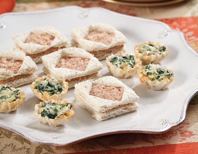 Diamond-shaped Devilish Ham Tea Sandwiches are an inexpensive, but elegant, tidbits for the savories course of your tea.