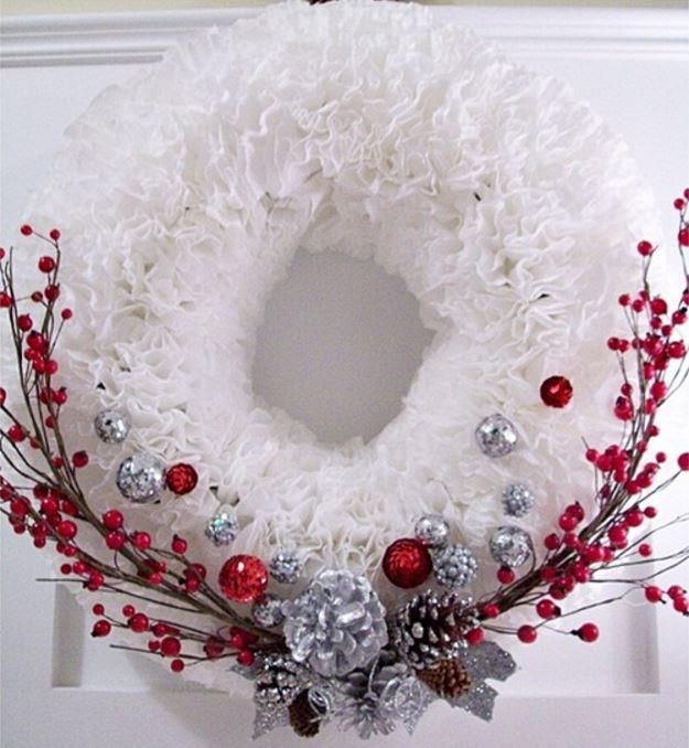 "Winter Coffee Filter Wreath | This DIY wreath is not only ""green"" but unbelievably pretty!"