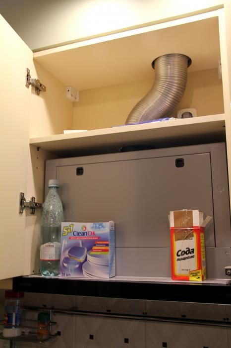 Вытяжка на кухне, хранение моющих средств