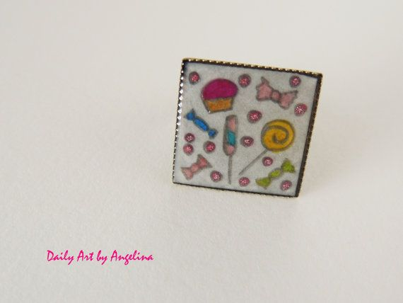 Pastel candy handpainted ring by DailyArtbyAngelina on Etsy