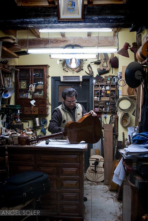 The guitar maker in Granada, Spain.