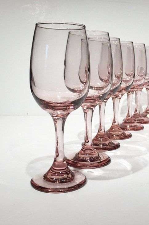 Pink Libbey Premier Wine Glasses, Set of 6 Vintage Pink Stemware by MotownLostandFound on Etsy