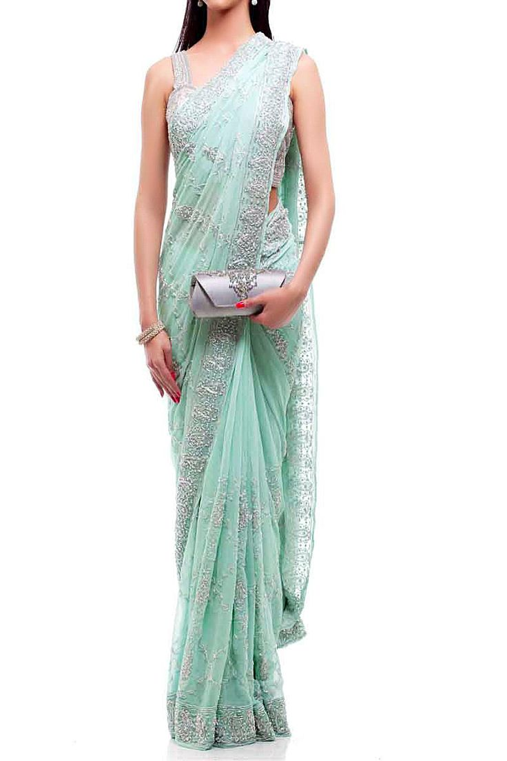 Mint Silver Saree — Inanna — Traditional Sarees | Indianhanger.com