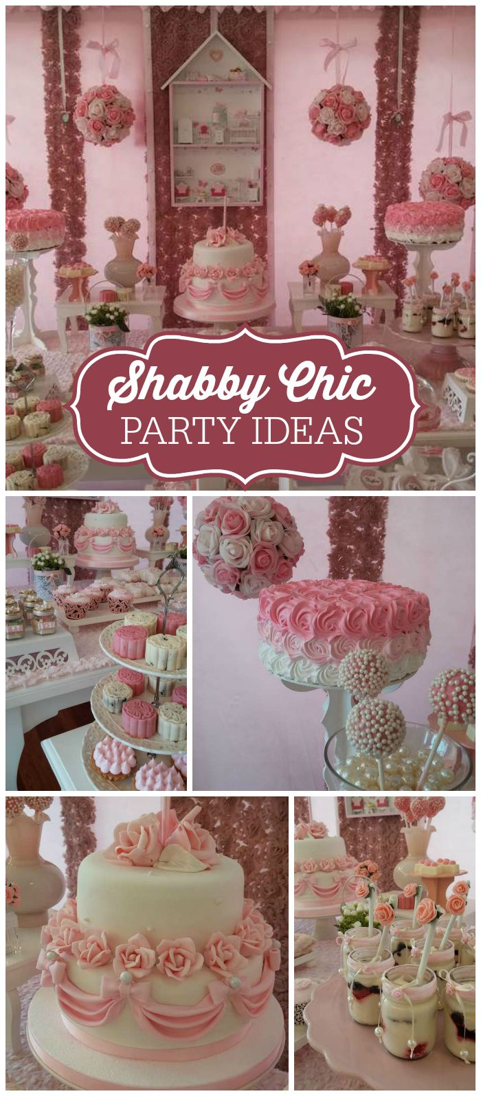 A shabby chic girl birthday party with pink and white roses for decorations and…