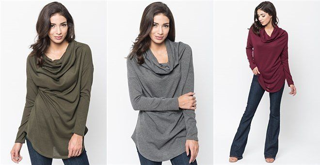 Cowl Neck Knit Pullover | S-XL