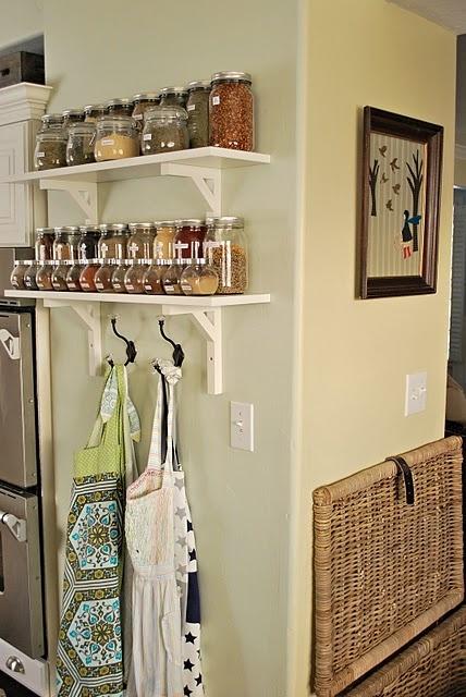 Spice storage: House Tours, Spices Storage, Idea, Hooks, Shelves, Spices Racks, Aprons, Spices Jars, Houses Tours