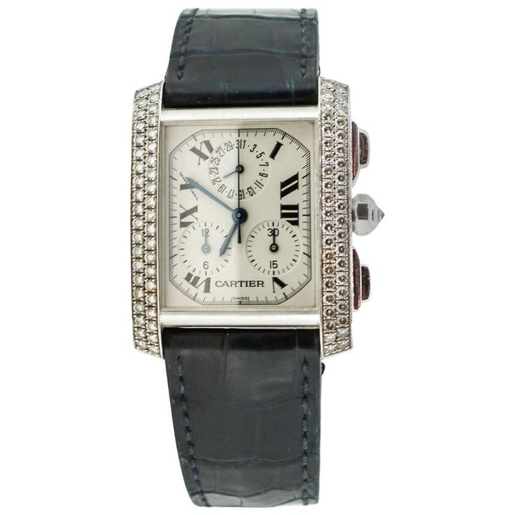 Cartier White Gold Tank Francaise Chronoflex Quartz Wristwatch Ref 2367 | From a unique collection of vintage wrist watches at https://www.1stdibs.com/jewelry/watches/wrist-watches/