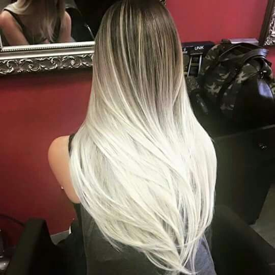 Unreal ombre White blonde ombre with dark brunette long hair.