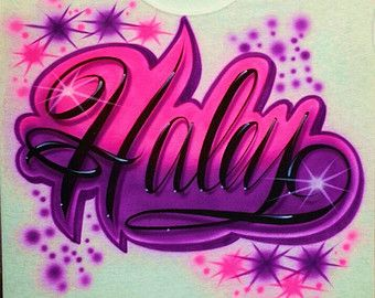 Airbrush T Shirt Script Name Starbursts and Favorite Colors, Airbrush Name Shirt, Airbrush Shirt, Airbrush T Shirt, Airbrushed Shirt