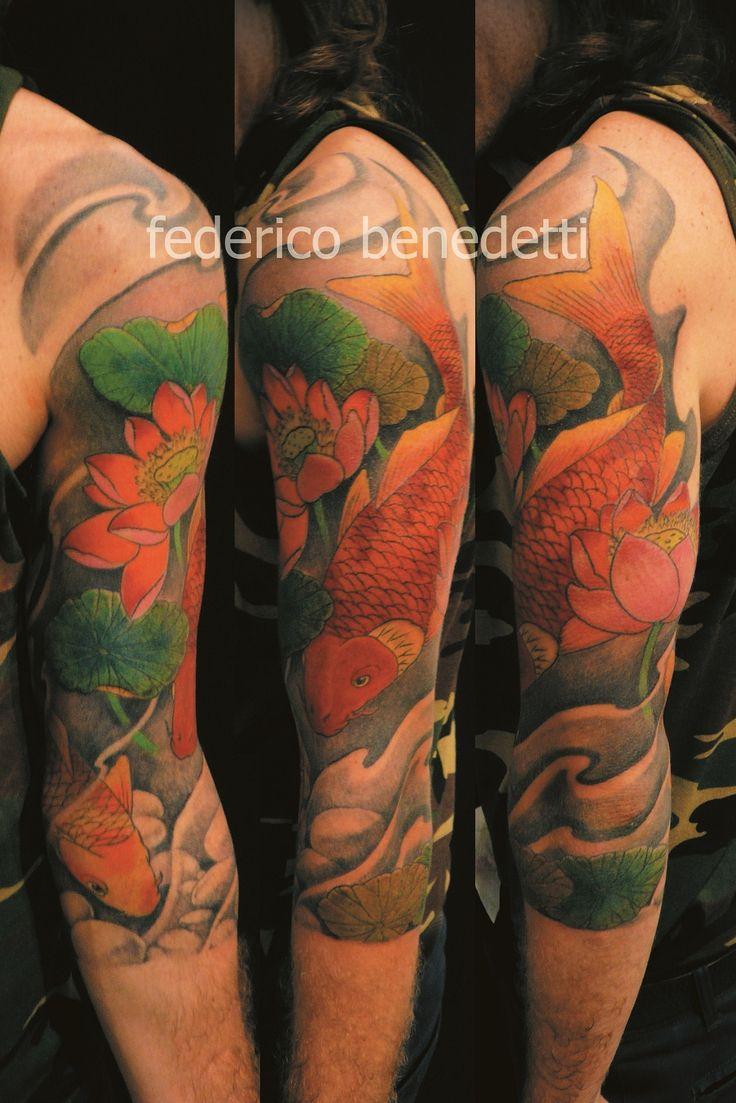 Japanese tattoos feb 27 frog tattoo on foot feb 25 japanese tattoo - 3 4 Arm Koi Fish Lotus Water Federico Benedetti Tatuatore