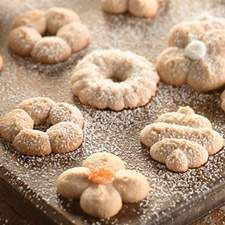 Lightly spiced cookies, perfect for making into spritz cookies with a cookie press.