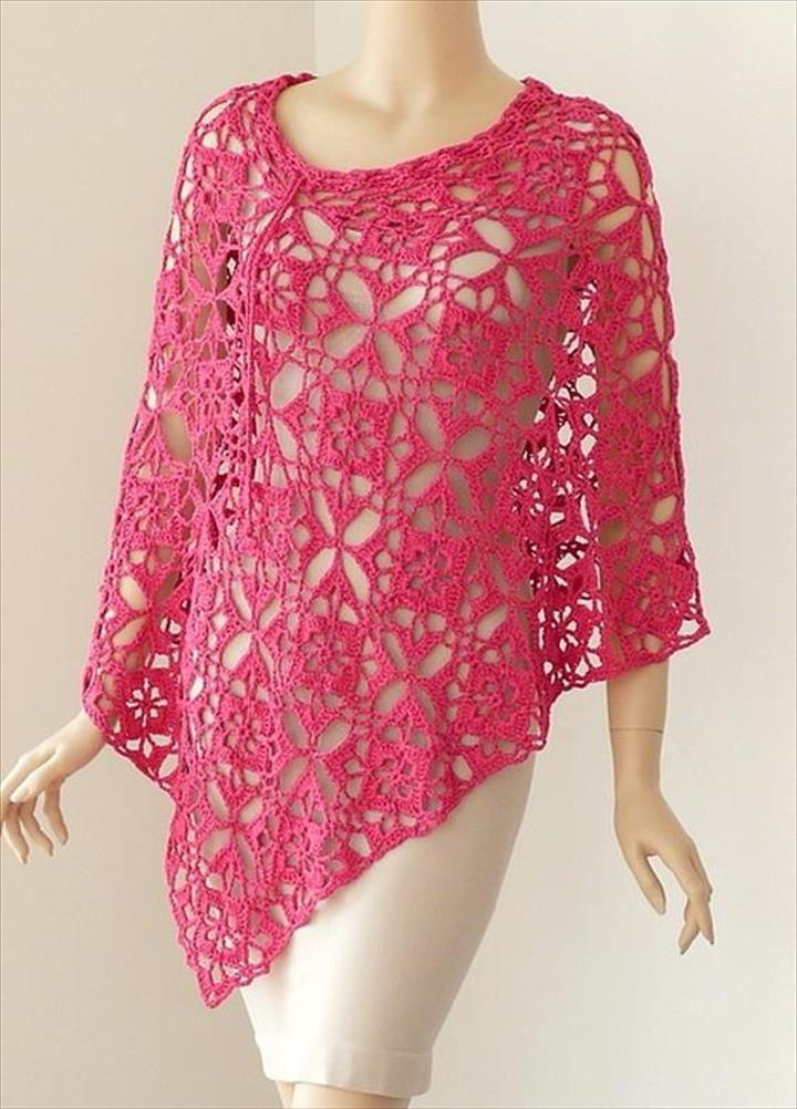 Crochet Poncho Pattern – Gorgeous Square Motif- 24 Adorable Summer Poncho Free Crochet Design | DIY to Make