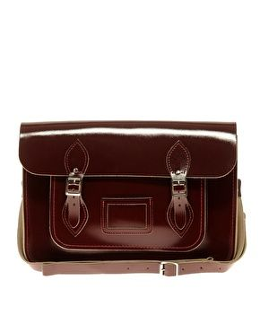 "Cambridge Satchel Company Exclusive To ASOS 14"" Oxblood Patent Satchel £120"