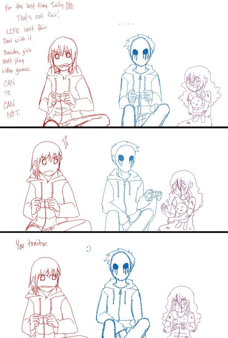 Awwwww. Eyeless Jack was so sweet to Sally. But Jeff was being a buttonhole. E.J was just like 'So what?'