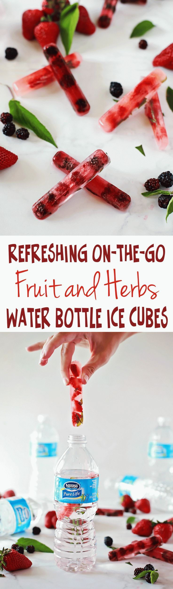 Fruit and Herbs Ice Sticks for water bottles! Fun recipe tutorial from Flirting with Flavor with Nestle Pure Life 35 pack water!  #PureLife35pk #ad