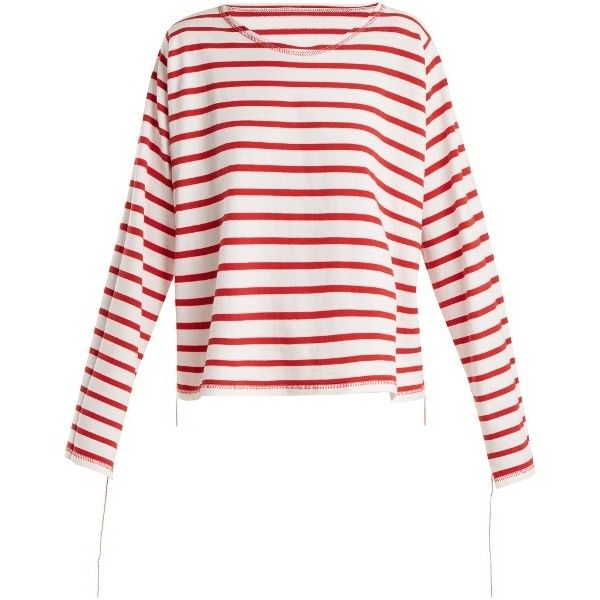 MM6 Maison Margiela Breton-stripe step-hem top (21,900 INR) ❤ liked on Polyvore featuring tops, red stripe, white striped top, red long sleeve top, breton top, stripe top and loose long sleeve tops