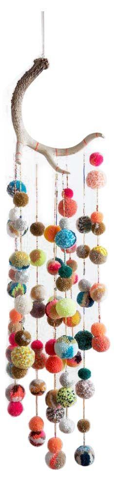 Multi-color Pom Pom Hanging Sculpture from Dana Haim - Hunters Alley