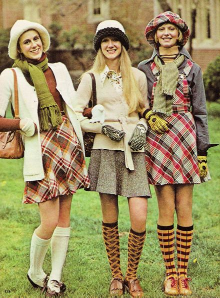 High school fashions for Seventeen magazine, August, 1973.  I absolutely adored knee socks!!!