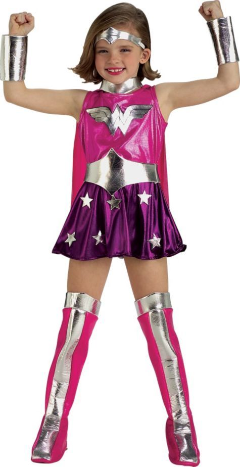 Toddler Girls Pink Wonder Woman Costume - Party City