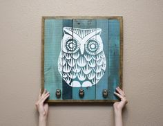 Owl painting wall art with functional knobs by MissMacie on Etsy, $132.00