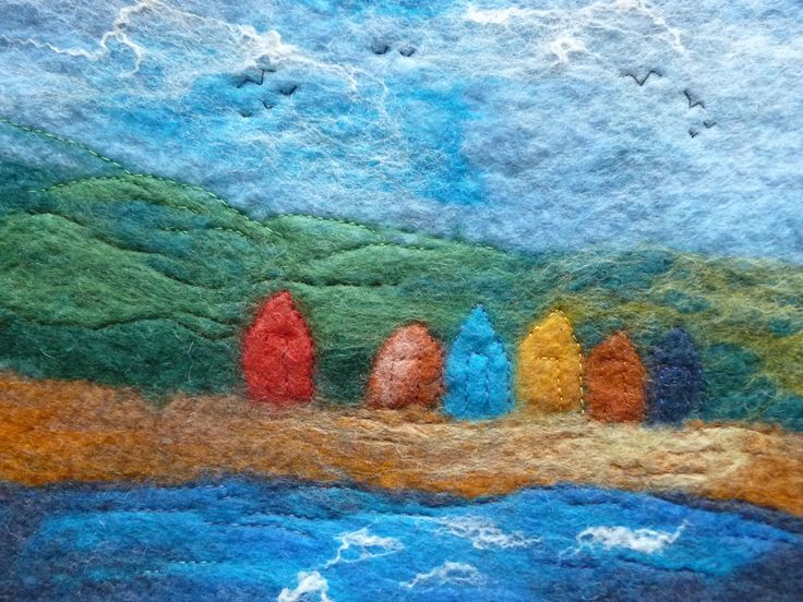 """Lined Up on the Strand"" - small wallhanging, handfelted by Deborah Iden.  Follow LittleDeb on Folksy, Etsy, Pinterest and Facebook."