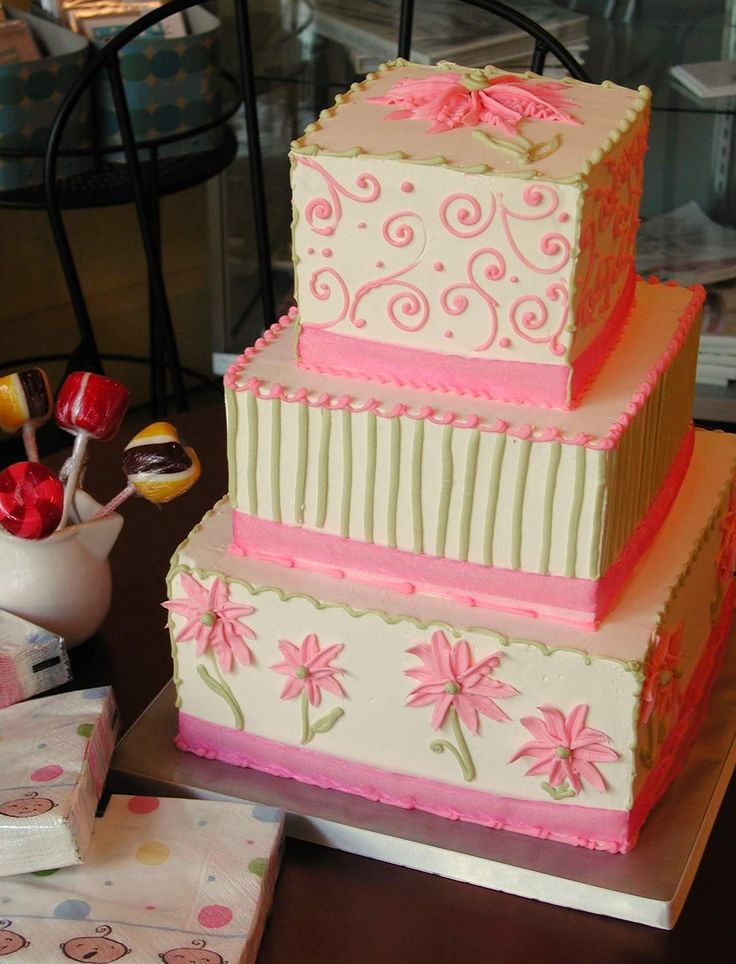 ... green & pink-- perfect for a baby shower. magpies bakery, knoxville tn