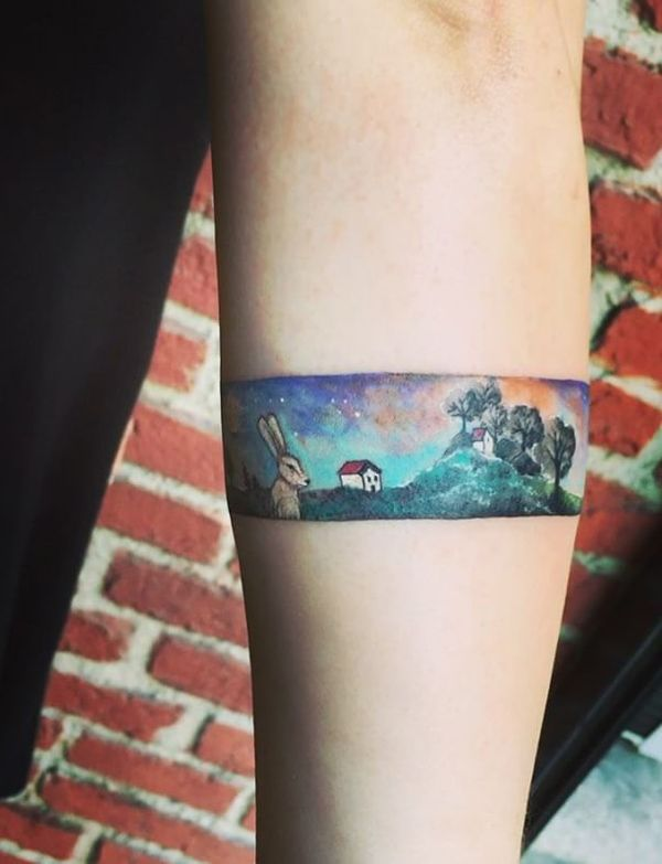 The magical colors of this tattoo lead us in the world of fairy tales and the time when we were young and carefree.