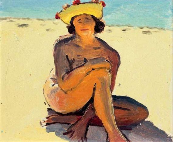 Albert Marquet - BAIGNEUSE AU PYLA, oil on panel