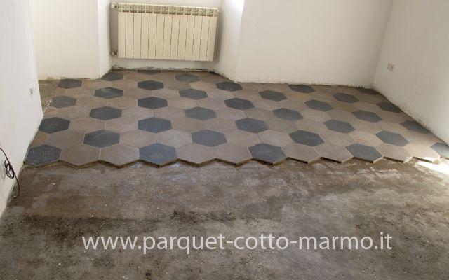 pavimenti misti - posa delle cementine antiche
