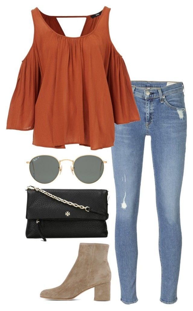 """orange top"" by helenhudson1 ❤ liked on Polyvore featuring rag & bone, Tory Burch, Ray-Ban and Gianvito Rossi"