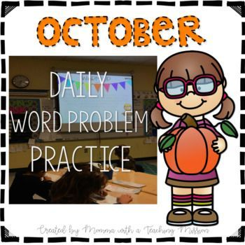 October Word Problem Warm Ups & Supplemental Printables Everyday, my students start the day with a word problem warm-up. I project this PDF on the whiteboard, and they get out their own small whiteboards to solve the problem.