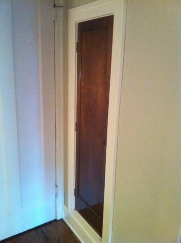 broom closet recessed between the studs.: Broom Closet, Closet Recessed