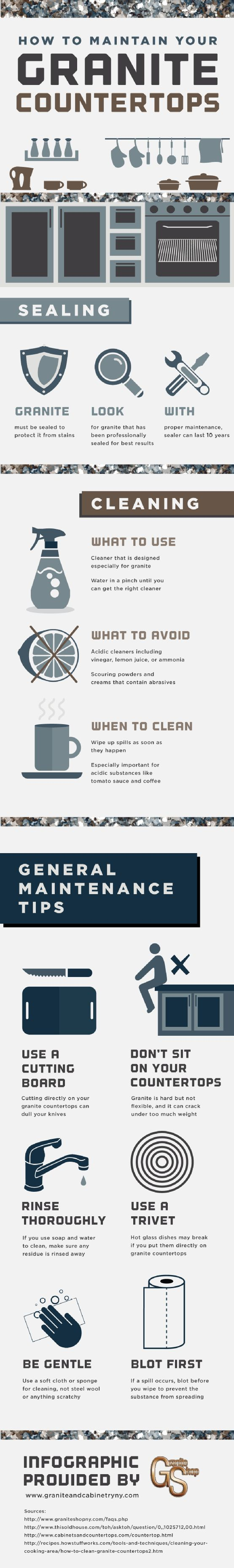 How To Maintain Your Granite Countertops   | #Kitchen #HowTo #infographics repinned by @Piktochart