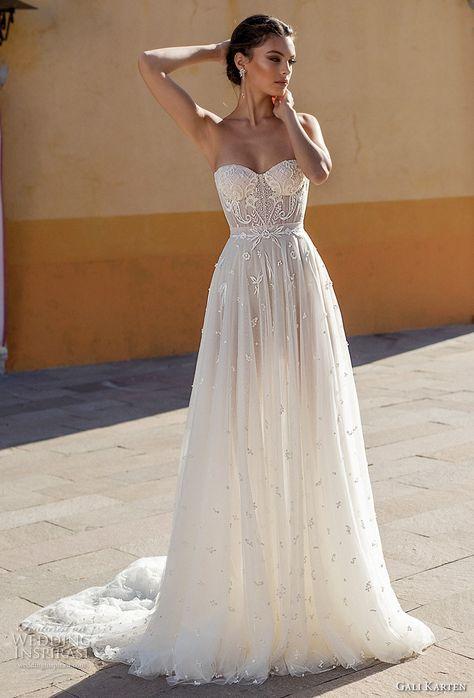 gali karten 2018 bridal strapless sweetheart neckline heavily embellished bodice…