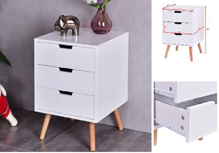 Wooden Tea Side Table Nightstand With Drawers Modern Retro Decor Furniture White #WoodenTeaSide #Modern