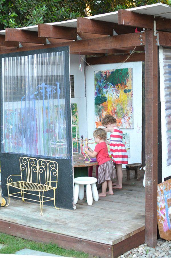 Cómo configurar un estudio de arte patio trasero éxito para los niños | TinkerLab.com