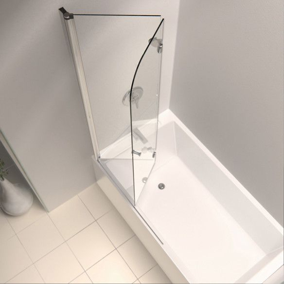 Glass frameless hinged bathtub doors