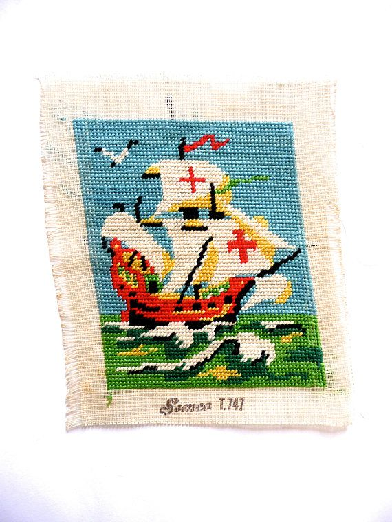 Vintage Semco Sailing Ship Hand Embroidery