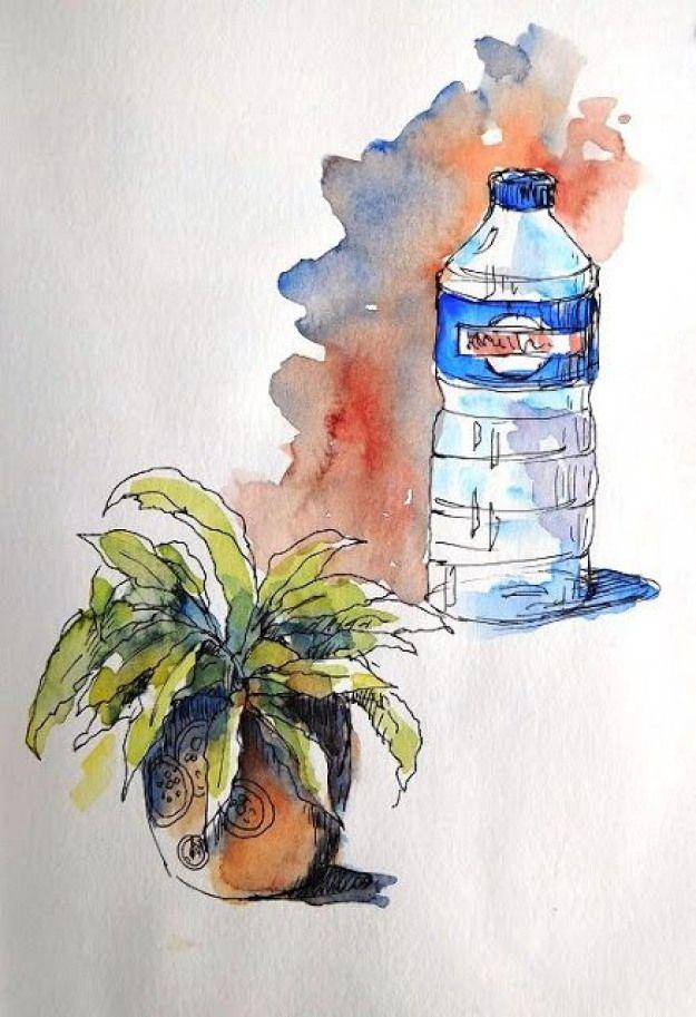 Buganvillas Acuarela S Papel 55x36 Cm Watercolor Aquarelle Art