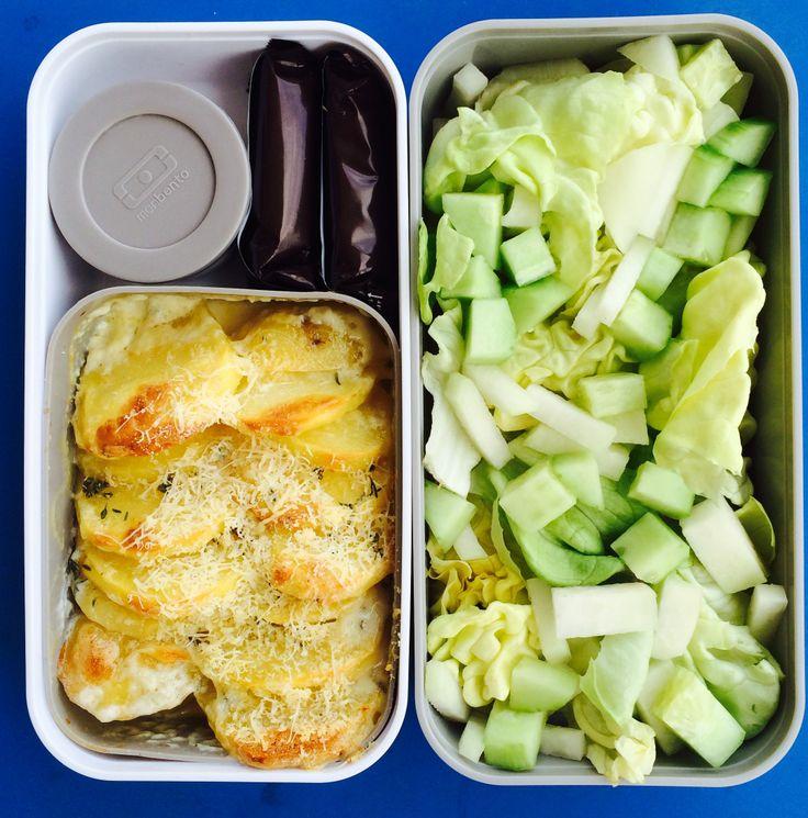 Monbento box: patatoe gratin, salad of greens, chocolate