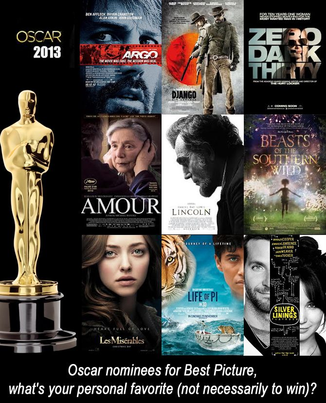 Oscar nominees for Best Picture,  what's your personal favorite (not necessarily to win)?