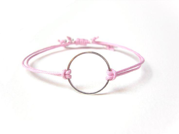 Silver Eternity Bracelet Pink String Bracelet Gifts For Teenagers String Jewelry UK (7.61 GBP) by JewelleryByJora