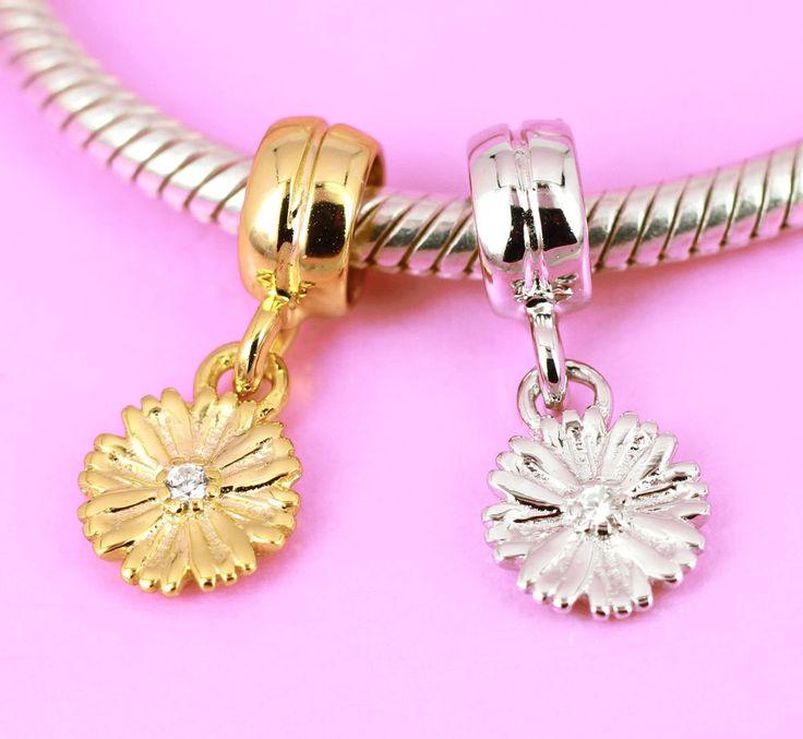 Sterling Silver CZ DAISY Flower Charm Bead /Pendant Rhodium / Vermeil Gold AUST