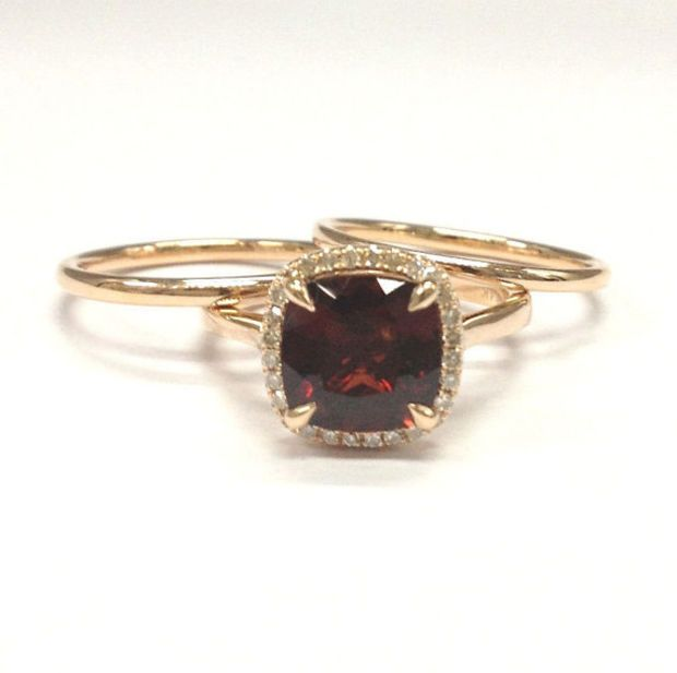 garnet wedding ring setdiamond engagement ring 14k rose gold8mm cushion cut red