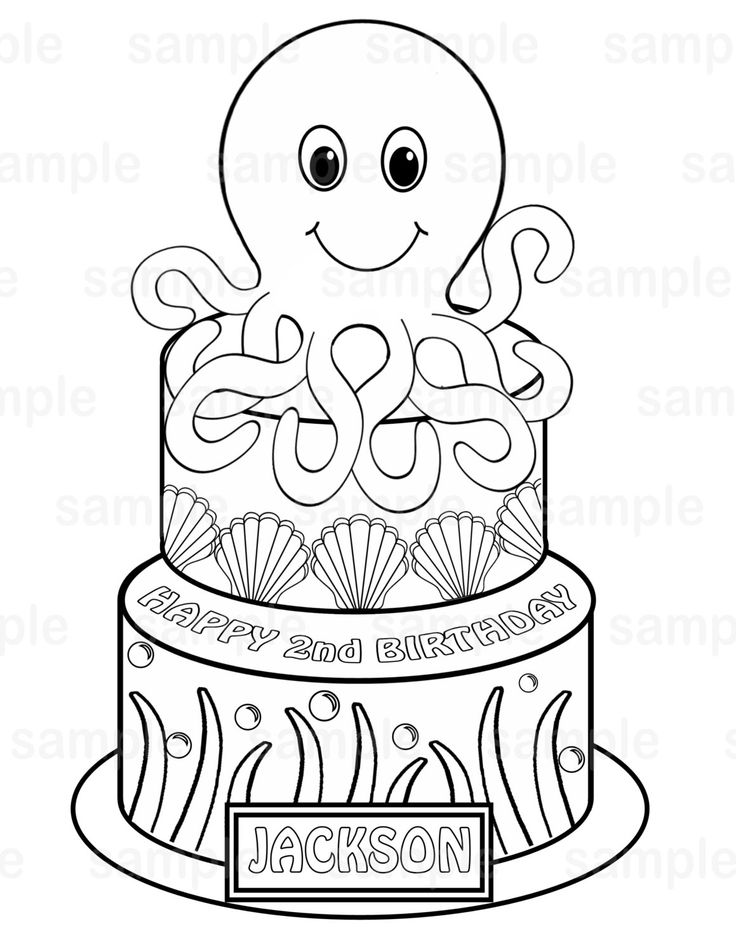Birthday Coloring Pages Pdf : Best octopus cake images on pinterest