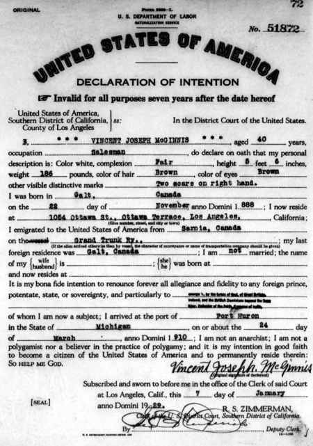 1929 Declaration of Intention for Vincent Joseph McGinnis